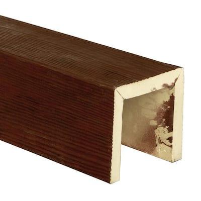 SAMPLE - 6 in. x 6 in. x 12 in. 3 Sided (U-Beam) Sandstone Natural Pecan Endurathane Faux Wood Ceiling Beam Premium