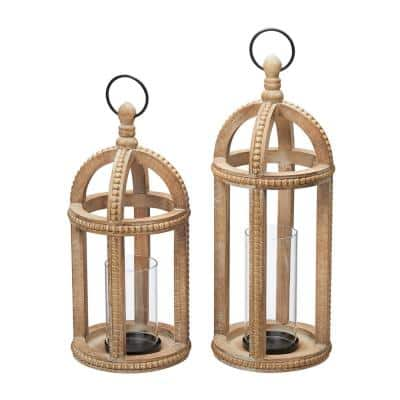 Antiqued Wood Candle Hanging or Tabletop Lantern with Beaded Trim (Set of 2)