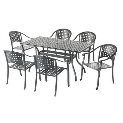 Milano London Black 7-Piece Cast Aluminum Outdoor Dining Set