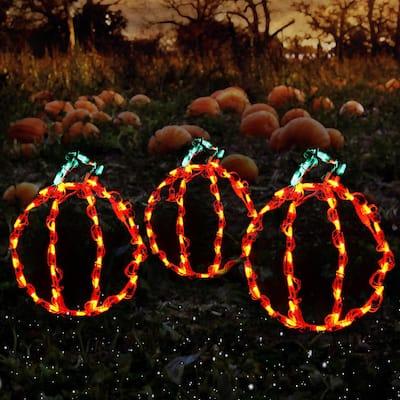 Holidynamics, Halloween Yard Decoration 14 in. Lighted LED Mini Pumpkins/ Set of 3