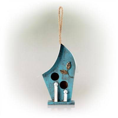 12 in. Tall Outdoor Hanging Wood and Metal Birdhouse, Blue