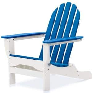 Icon White and Royal Blue Plastic Folding Adirondack Chair