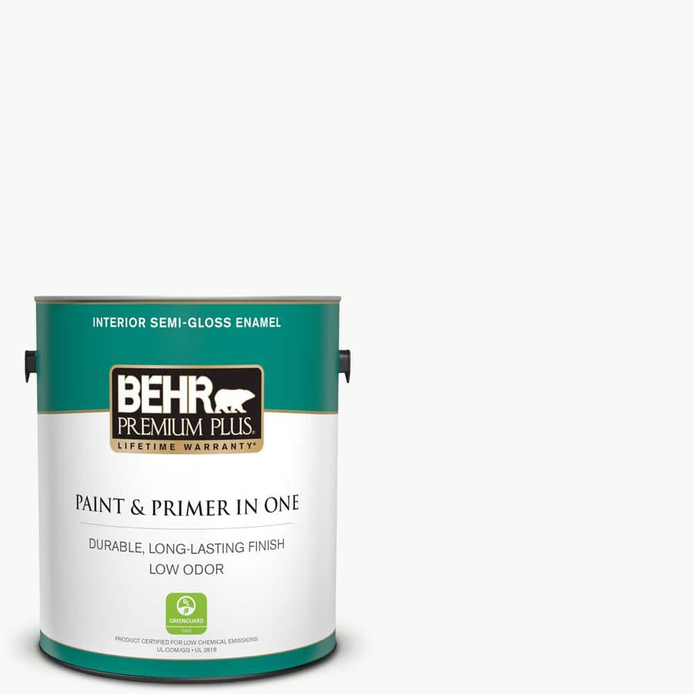 Behr Premium Plus 1 Gal Ultra Pure White Semi Gloss Enamel Low Odor Interior Paint And Primer In One 305001 The Home Depot