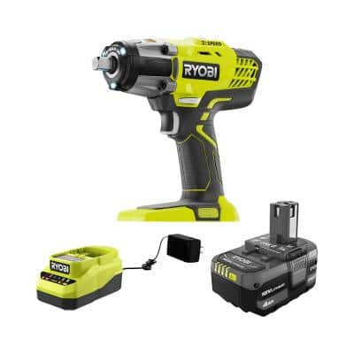 ONE+ 18-Volt Cordless 3-Speed 1/2 in. Impact Wrench Kit with (1) 4.0 Ah Battery and Charger