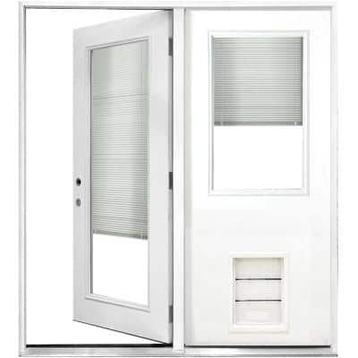 72 in. x 80 in. Clear Mini-Blind White Primed Prehung RHIS Fiberglass CenterHinge Patio Door w/ XL Pet Door