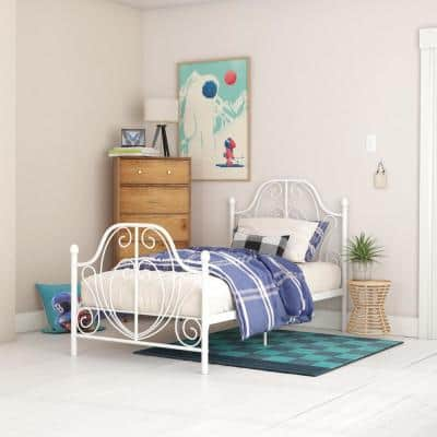 Lucy White Metal Twin Size Bed Frame