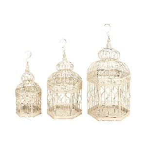 Distressed White Metal Birdcages (3-Pack)