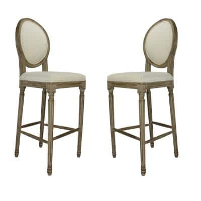 Louis 30 in. Weathered Round Back Wood Frame Bar Stool with Beige Upholstered Seat (Set of 2)