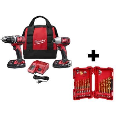M18 18-Volt Lithium-Ion Cordless Drill Driver/Impact Driver Combo Kit (2-Tool) with 2 Batteries and 23p  Drill Bit Set