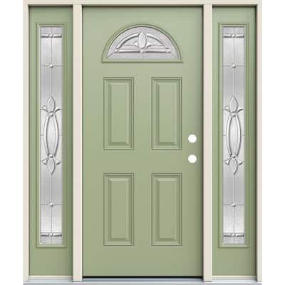 60 in. x 80 in. Left-Hand Fan Lite Decorative Glass Blakely Surf Fiberglass Prehung Front Door W/Sidelites