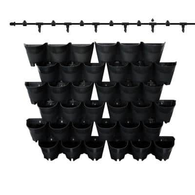 36-Pocket Plastic Self-Watering Vertical Wall-Garden Planters (12 sets of 3) in Black Color