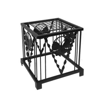 16 in. Tall Black Powder Coat Iron Modern Indoor Outdoor Julia Butterfly Plant Stand