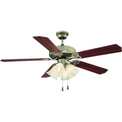 52 in. Indoor Brushed Nickel Ceiling Fan with Light and Reversible Rosewood/Walnut Blades and Alabaster Glass Shades