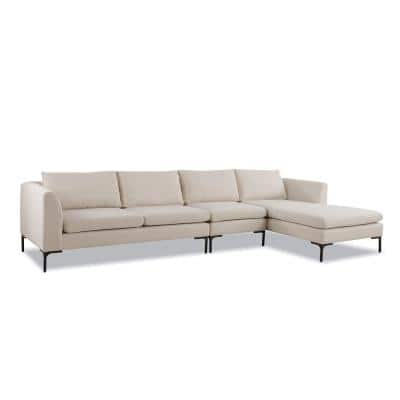 Weylyn 4-Piece Sky Neutral Fabric L-Shaped Right-Facing Chaise Sectional Sofa with Black Powder Finish Legs