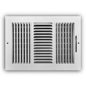 12 in. x 8 in. 3-Way Steel Wall/Ceiling Register in White
