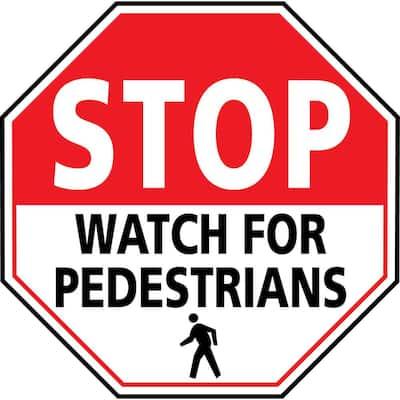 24 in. Stop Watch For Pedestrians Safety Floor Sign