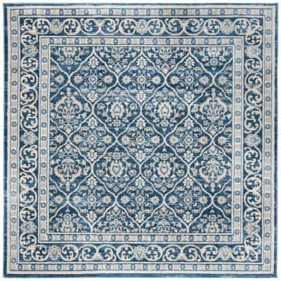 Brentwood Navy/Light Gray 3 ft. x 3 ft. Square Floral Border Geometric Area Rug