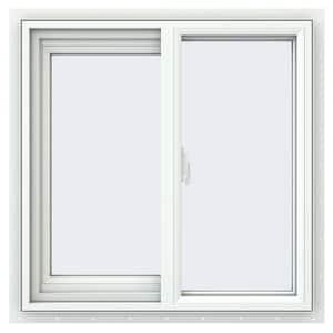 23.5 in. x 23.5 in. V-2500 Series White Vinyl Left-Handed Sliding Window with Fiberglass Mesh Screen