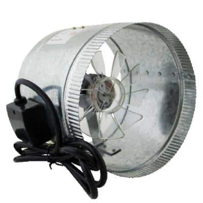 HomeAire IDF-8 210 CFM 8 in. Inlet and Outlet Inline Duct Booster Fan in Galvanized Steel Housing