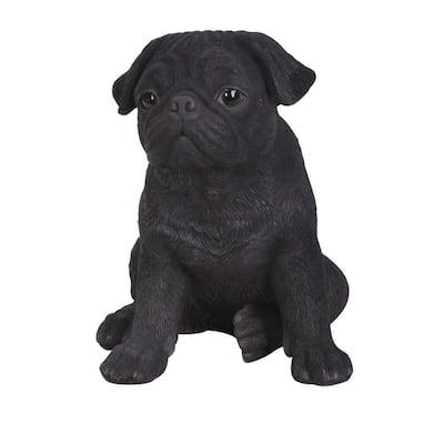 Black Pug Puppy Statue