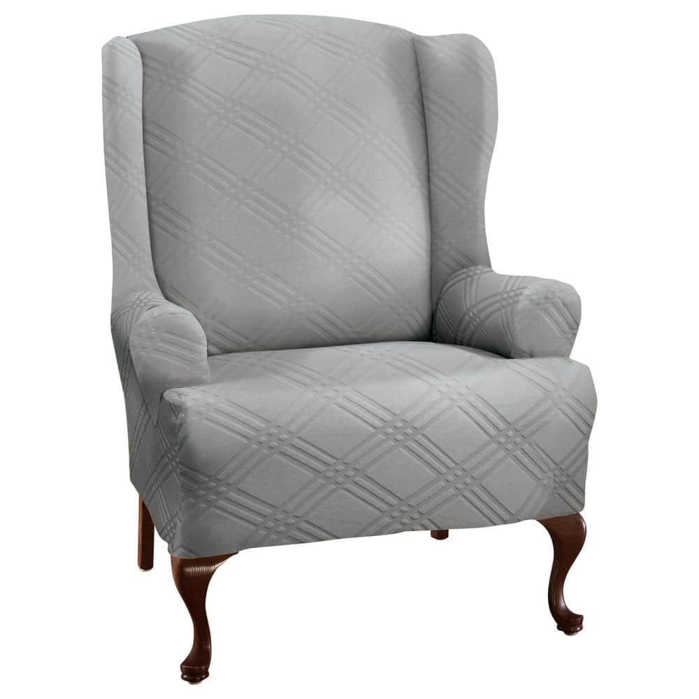 Stretch Sensations Double Diamond Gray Wing Chair Slipcover 9228winggrey The Home Depot