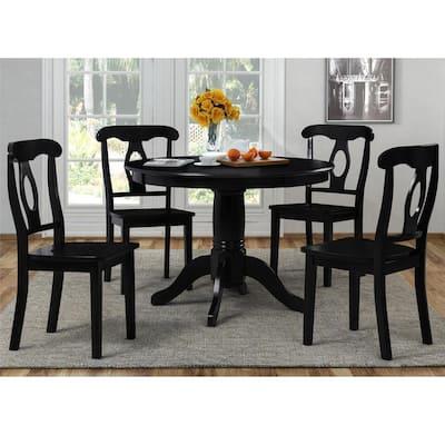 Alba 5-Piece Black Traditional Height Pedestal Dining Set