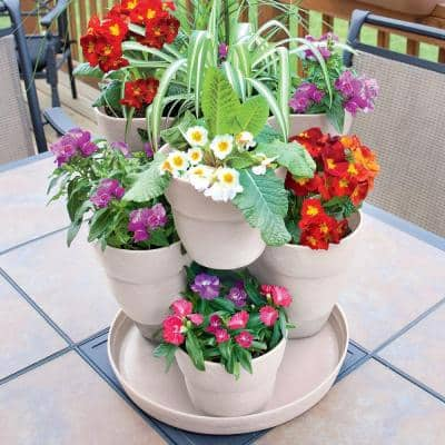 13 in. 3-Tier Resin Flower and Herb Tower Planter in Bone White