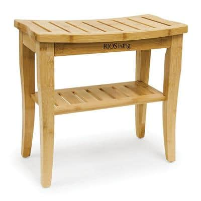 10 in. W x 18.8 in. D Bamboo Non-Adjustable Shower Seat Bench