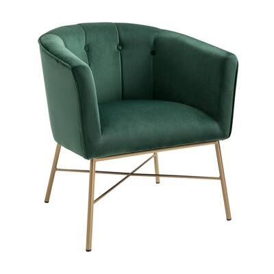 Falette Green Tufted Velvet Arm Chair