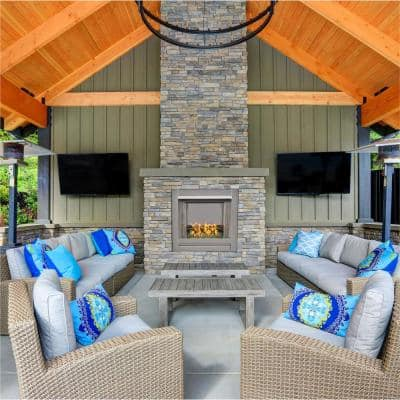 Bluegrass Living Vent-Free Stainless Outdoor Gas Fireplace Insert With Emerald Green Fire Glass Media - 24,000 BTU