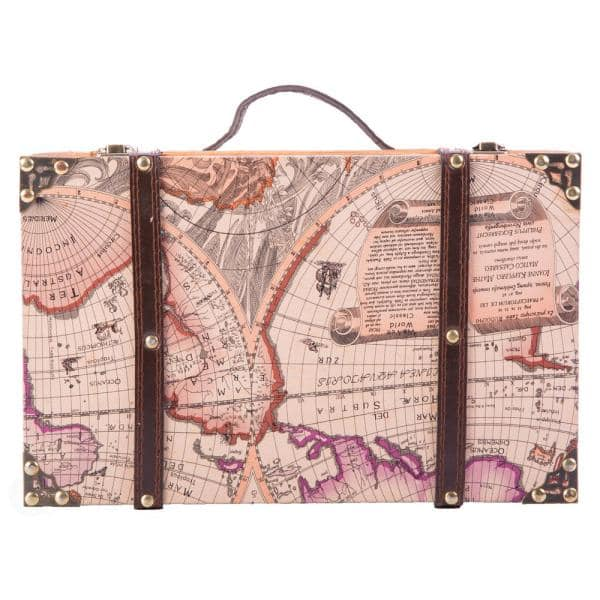 Vintiquewise - 13.8 in. x 8.8 in. x 5 in. Wood and Faux Leather Old World Map Suitcase