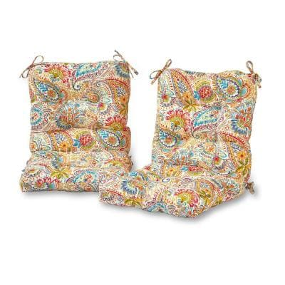 Jamboree Paisley 21 in. x 42 in. Outdoor Dining Chair Cushion (2-Pack)