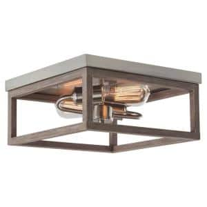 Cordelia Lighting Open Square 14 In 2 Light Painted Wood With Vintage Black Flush Mount 2617 327 The Home Depot