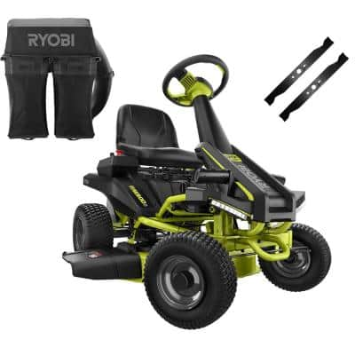30 in. 50 Ah Battery Electric Rear Engine Riding Mower and Bagging Kit