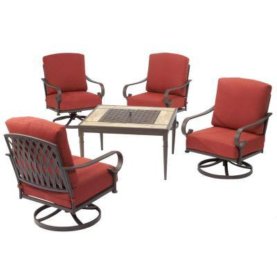 Oak Cliff 5-Piece Metal Patio Fire Pit Conversation Set with Chili Cushions