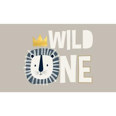 Decorative Grey Wild One Laminated Kids Mats 20 in x 34 in