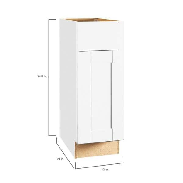 Hampton Bay Shaker Assembled 12x34 5x24 In Base Kitchen Cabinet With Ball Bearing Drawer Glides In Satin White Kb12 Ssw The Home Depot