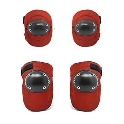 Knee and Elbow Pads ComboTough Cap Red Thick Foam Padding, Adjustable Elastic Straps