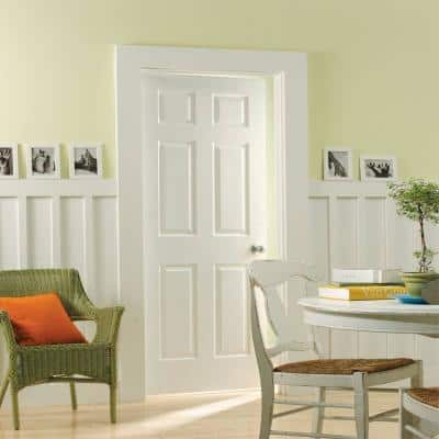 30 in. x 80 in. Textured 6-Panel Hollow Core Primed Composite Interior Door Slab with Bore