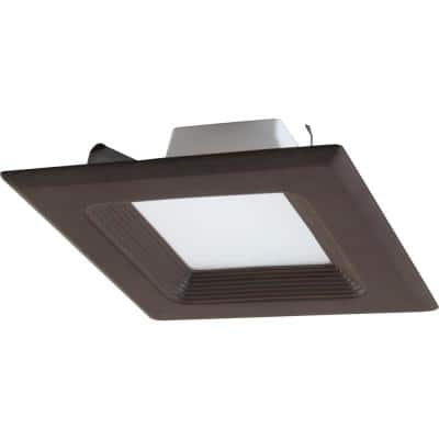 1-Light Indoor/Outdoor 6 in. 3000K Antique Bronze Integrated LED Recessed Retrofit Downlight and Square Trim and Lens