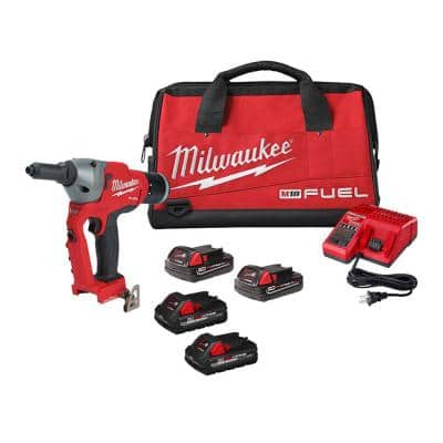 M18 FUEL ONE-KEY 18-Volt Lithium-Ion Cordless Rivet Tool Kit with (4) Batteries and Charger