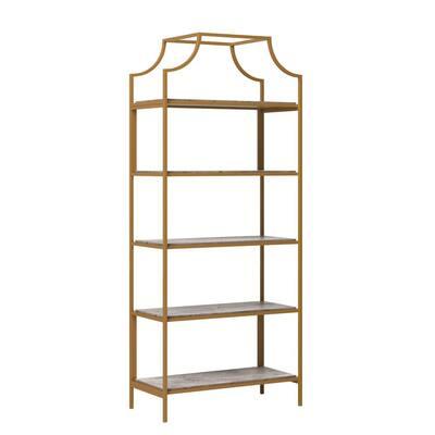 International Lux 70.866 in. Faux Deco Stone Metal 5-Shelf Accent Bookcase