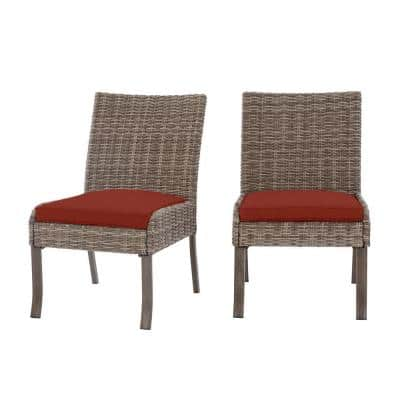Windsor Brown Wicker Outdoor Patio Stationary Armless Dining Chair with Sunbrella Henna Red Cushions (2-Pack)