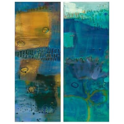 """""""Reedy Blue"""" Abstract Wall Art Printed on Frameless Free Floating Tempered Glass Panel"""