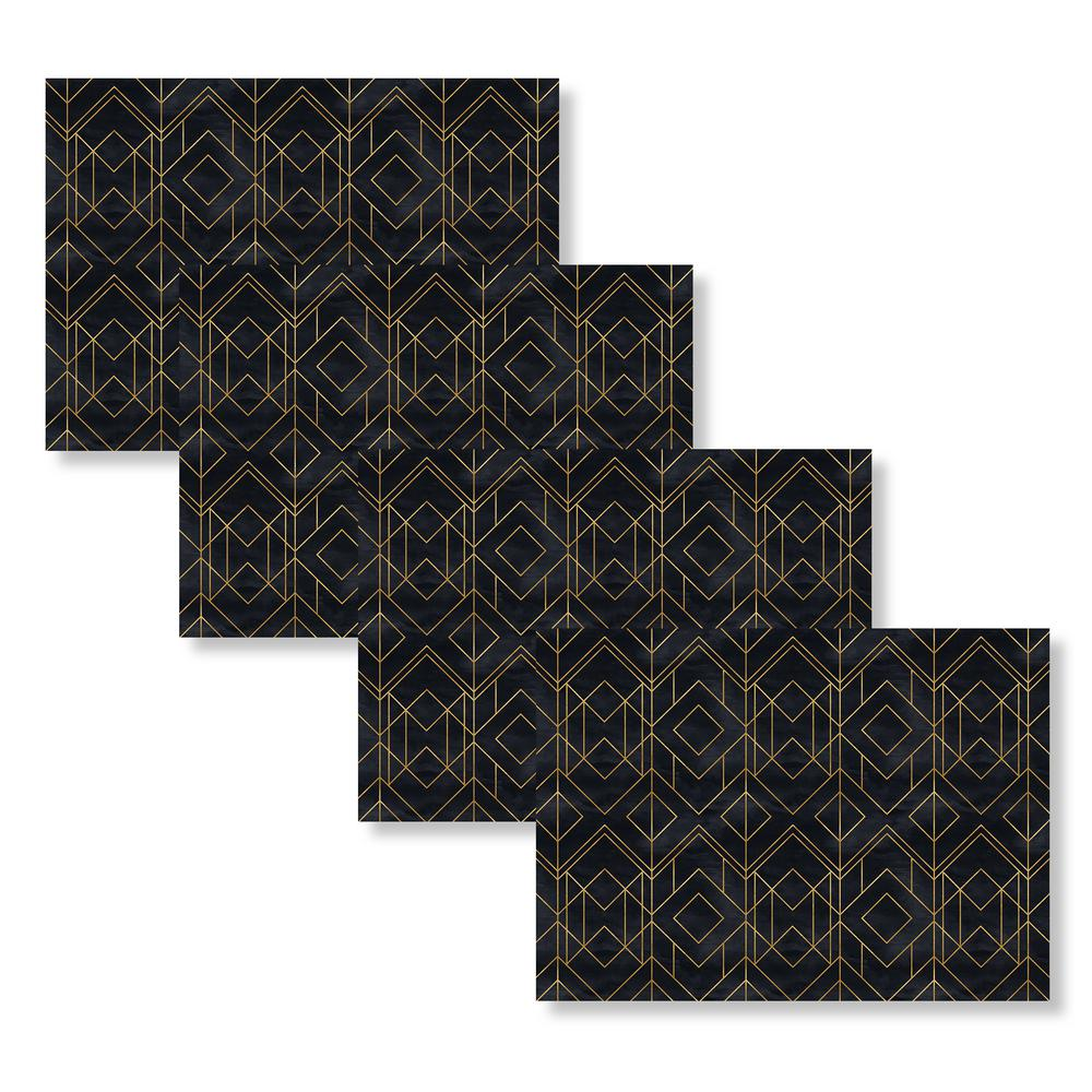 Mid Century Modern Diamond 18 In W X 13 In L Polypropylene 4 Pack Placemat Set M635298 The Home Depot