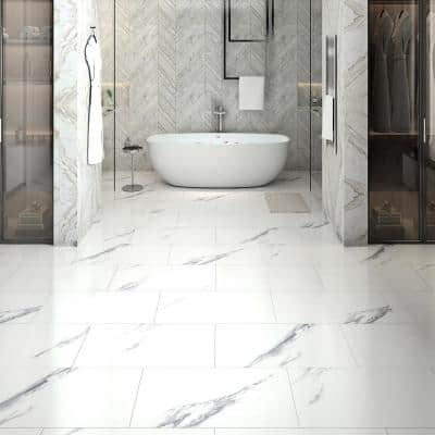 Luminescent Sky Marble 12.20 in. W x 24.41 in. L Luxury Vinyl Tile (20.69 sq. ft. / case)