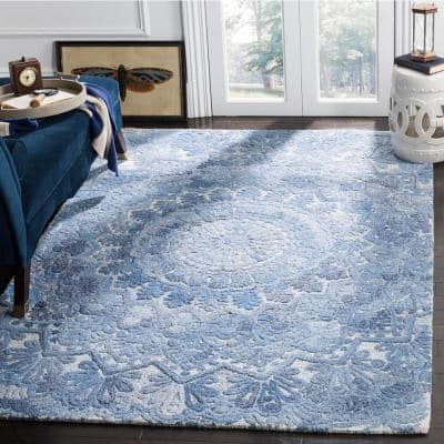 Marquee Blue/Ivory 8 ft. x 10 ft. Border Area Rug