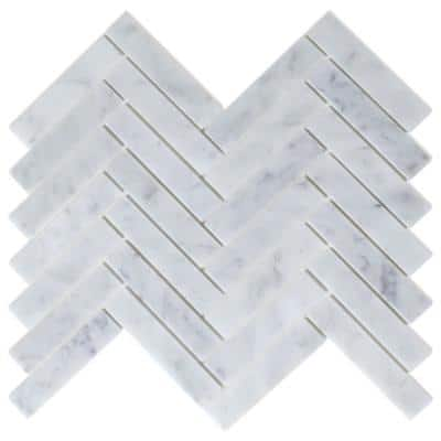 Take Home Sample - Oahu White 4 in. x 4 in. Marble Peel and Stick Wall Mosaic Tile (0.11 sq. ft./Each)