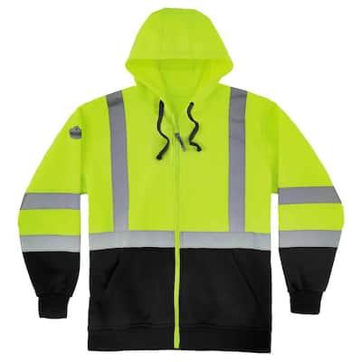 GloWear Men's Large Lime and Black Class 3-Zip-Up Hi-Vis Hooded Sweatshirt