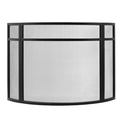 48 in. L, Black 3-Paneled Curved Fireplace Screen